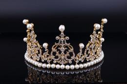 Wholesale 2016 Gold Pearls Wedding hair Tiaras Sparky Crystals Royal Designer Cheap Wedding Bridal Crowns Tiara New