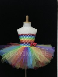 Wholesale Cute Baby Rainbow Color Layers Crochet Corset Tutu Dress Girls Handmade Fluffy Ballet Tulle Dress with Grosgrain Bow Kids Party Tutus