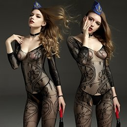 Wholesale Rimes sexy lingerie sexy big flower Sling Long perspective sack coveralls socks Siamese network clothing