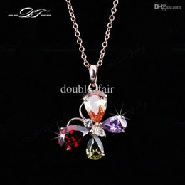 Color Butterfly Imitation Gemstone 18K Gold Pated Necklaces & pendants Fashion Jewelry For Women Gifts Crystal colares DFN162