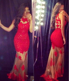 Red tull prom dresses illusion sexy mermaid appliques lace evening dresses vestidos new arrival 2016 evening party gown