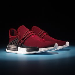 Wholesale 2016 Hot Chinese Word Wine red Human race Running Shoes NMD HUMANRACE Couple Top Gift Shoes NMD shoes