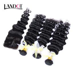 24 profonds faisceaux de cheveux bouclés en Ligne-Malaisie Deep Wave Cheveux humains à la cheville frisée S'habille avec fermeture 4Pcs Lot non traitées 7A Malais Deep Curly Hair Bundles And Lace Closures