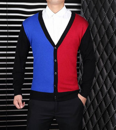 Wholesale 2016 Fall latest men woolen Sweater fashion luxury gentlemens outwear male nice wool sweaters men s fall clothing V neck mix color cardigan