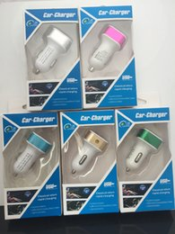 Wholesale Metal Dual USB Port Car Charger Universal Volt Amp for Apple iPhone iPad iPod Samsung Galaxy Motorola Htc