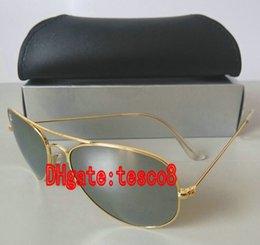 Las lentes de cristal clásicas del espejo 58m m del oro de las gafas de sol de la manera de las mujeres de los hombres del precio al por mayor 10 colores mezclaron los vidrios de Sun del diseñador de la orden desde espejo de cristal clásico fabricantes