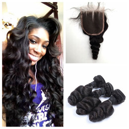 Malaysian Loose Wave Hair Bundles With Lace Closure 4pcs Lot Natural Black Unprocessed Human Hair Wefts LaurieJ Hair
