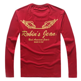 Wholesale 2016 RB T man M XL Bronzing mens long sleeved t shir best version wing printing pullover moleton Sweatshirts Real American year s T shirts