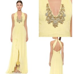 Sexy Vintage 2016 Marchesa Notte Halter Yellow Chiffon A-Line Full Length Emboridery Formal Prom Dresses Dress of Partys Evening Gowns