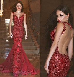 2018 Burgundy Illusion Back Arabic Mermaid Evening Dresses Red Long Prom Gowns Sequins Sweetheart Lace Applique Formal Dubai Evening Gowns