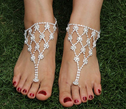 Wholesale Beach wedding jewelry anklets rhinestone barefoot sandals enviromental friendly alloy ankle bracelets charms bracelets