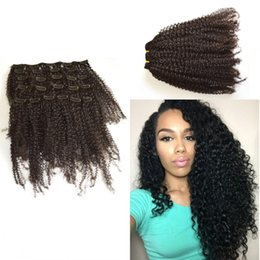 Beautiful Kinky Curly Clip In Hair Extensions Natural Color Clip In Human Hair Extensions 120g 7Pcs set Clip Ins LaurieJ Hair
