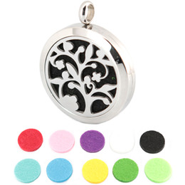 Wholesale 10pcs mm plain magnet tree of life Aromatherapy Essential Oil surgical Stainless Steel Perfume Diffuser Locket Necklace with chain