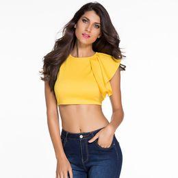 The new women's casual wear sleeveless T-shirt T-shirt shoulder ruffled all-match shirt beautiful woman