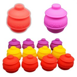 Wholesale 2016 New Design Butane Hash Oil Silicone Container Ml Honey Pot Silicone Container Dab Oil Slicks Piece Sample For Testing
