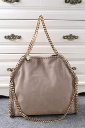 fashion Shaggy Deer Fold Over Falabella Bags Khaki Faux Leather 3 gold chain women Triple Handle Tote Size 36 x 32 x 10cm