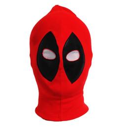Wholesale-PU algodón de cuero de X-Men Sombreros Máscaras Sombrero del super héroe Deadpool Balaclava de Halloween Cosplay de la Flecha Parte de la cara llena full leather costume promotion desde traje de cuero completo proveedores