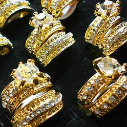 1 Set=2Pcs Hot! 2 in 1 Zircon Rhinestones Gold Plated Rings For Women Fashion Whole Jewelry Bulk Lots Free Shipping LR036