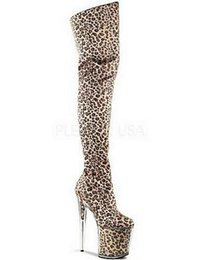 8 Inch With Platform leopard print high heels 20cm Crystal shoes thigh high stiletto boots gold Super sky platform glitter shoes