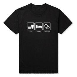 Wholesale New Fashion T Shirts Eat Sleep Engineer Tshirts Cotton Short Sleeve Engineering Career Occupation Funny Technology T shirts