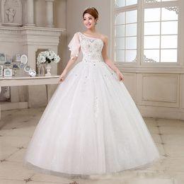 Wholesale Shoppingabc New Noble Lace Tulle A Line Bridal Wedding Dresses Empire Sloping Shoulder Chapel Train Customized Service Veil Included
