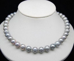 Beautiful 9-10mm natural south seas light gray pearl necklace 18inch 925 silver clasp