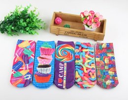 3D Short tube Harajuku style personality cotton socks pattern item M painting Colorful candy cake ice cream