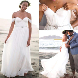 Romantic Chiffon Beach Wedding Dresses Pleated Off The Shoulder 2016 Summer Long Bridal Dresses Bohemian Boho Wedding Gowns With Beaded Belt