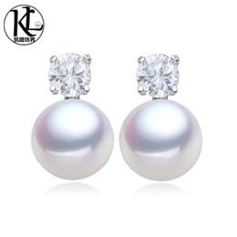 Wholesale Kpearl New Design White AAA mm bread shape freshwater pearl stud earrings