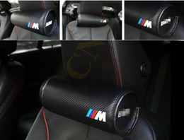 Wholesale For Car BMW M Leather Neck Pillow Super Soft Memory Foam Auto Seat Cover Head Neck Rest Cushion Headrest Pillow M Performance