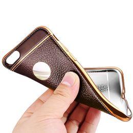 Descuento teléfonos celulares casos de cuero Caja de cuero del teléfono de la galjanoplastia del grano del Litchi para el caso del teléfono celular del capítulo de la galjanoplastia del caso de la cubierta de iPhone6 6S 6Plus para el iPhone 5 5s se