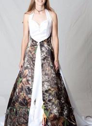 2016 Halter Camo Wedding Dresses White Flouncing Ruffles Sash Cheap Vestido De Noiva Vintage Back Lace Up Camouflage Bridal Dresses