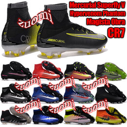 Wholesale Charlin s New Top Original Outdoor Mercurial Superfly VI FG CR7 Soccer Shoes Magista Obra Football Boots Hypervenom II Soccer Cleats