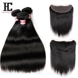 Rosa Hair Brazilian Silky Straight 13x4 Lace Frontal With Bundles Brazilian Human Hair Lace Frontal Closure With Straight Bundles