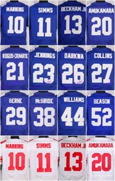 Wholesale 2016 New York football jersey Giants Soccer rugby jerseys Manning Beckham Jr Strahan Cruz Blue White freeshipping