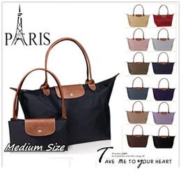 Wholesale New French Brand Medium size Fold over Nylon TOTE Bag Shopping Handbag Long Folding Travel sport Champagne Dumpling Freeshipping