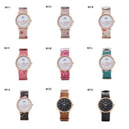 2017 relojes de pulsera piezas Moda unisex de oro rosa de la forma redonda relojes GTWH7 reloj reserva de marcha, relojes de pulsera de cuarzo correa de impresión de relojes 6 pedazos una porción del color de la mezcla barato relojes de pulsera piezas