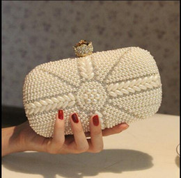 2016 Spring Summer Beach Bridal Hand Bags To Wedding Party Pearls Crystal Women Evening Prom Clutch Bag With Chain Bridal Accessory 2015