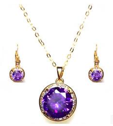 fashion purple diamond stone wedding jewerly necklace earings set free shipping