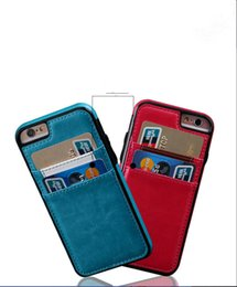 Wholesale For Iphone plus S Plus Card Pocket Leather Case ID Card Phone Case Vintage Back Cover Colors Price DHL