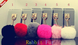 Wholesale Fashion Soft TPU Mirror Real rabbit hair case for iphone s s s plus Back Cover With furry Ball Fashion Disign