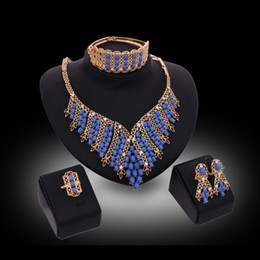 Wholesale jewelry sets Luxury Royal Style Blue Beads Wedding Jewelry Sets K Gold Plated Party Jewelry Piece Set Drop Shipping JS080