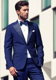 Blue Wedding Mens Suits Slim Fit Bridegroom Tuxedos For Men Groomsmen Suit Two Pieces Cheap Formal Business Jackets With Bow Tie