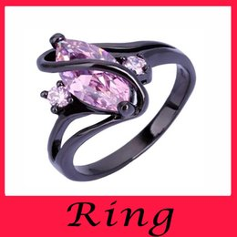 Wholesale jewelry stores mens silver rings for women Sapphire Rings KT Black Gold Filled promise ring wedding engagement rings zircon designs online