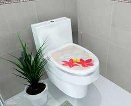 Wholesale 32 cm Sticker WC Pedestal Pan Cover Sticker Toilet Stool Commode Sticker home decor Bathroon decor D printed Flower View