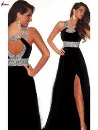 Wholesale New Best SellingLatest Stock Sexy Split Leg Beaded Long Black Red Blue Chiffon Evening Dress
