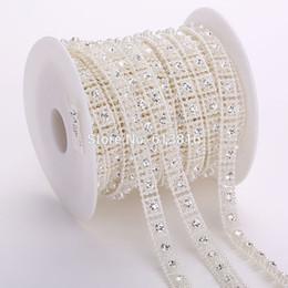 10yards 10mm Ivory Pearl Rhinestone Chain Trims Bridal Garland Applique Trim For Wedding Party Clothing Craft Decorative