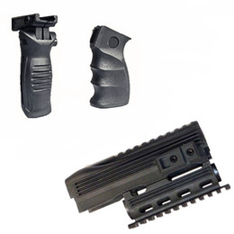 Tactical Stealth Black AK-47 AK74 Handguard Rifle Lightweight Polymer Quad Weaver-Picatinny Rail Mount Handguard Forend Rail System Set