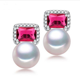 Freshwater 9-10mm Pearl Earrings with Red Stone Fashion White Gold Plated Stud Earrings for Women Brand Jewelry 2016 New Studs