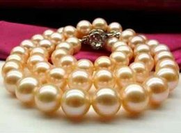 Hot round 10-11mm south sea gold pink pearl necklace 18 inch S925 silver